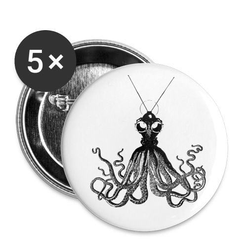 Steampunk Octopus Black - Buttons small 1'' (5-pack)