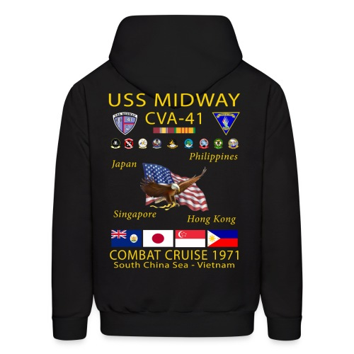 USS MIDWAY CVA-41 1971 COMBAT CRUISE HOODIE - Men's Hoodie