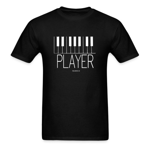 Player (Piano)  T-Shirt Men's Black with White Keys - Men's T-Shirt