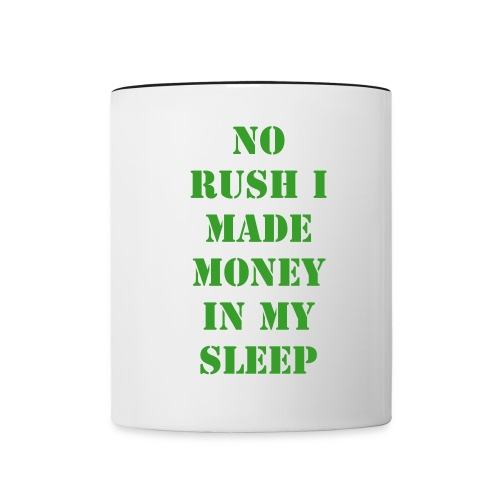 NO RUSH MONEY CUP-BLACK HANDLE - Contrast Coffee Mug