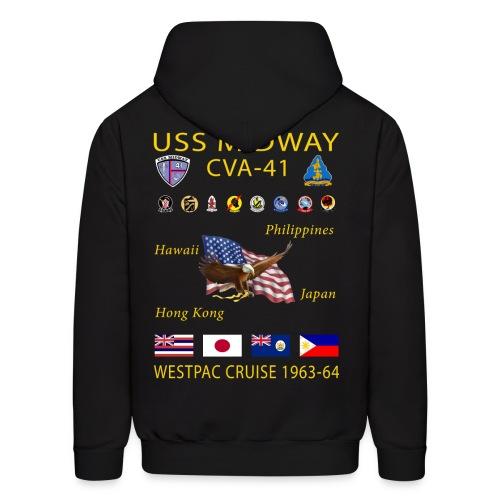 USS MIDWAY CVA-41 1963-64 WESPAC CRUISE HOODIE - Men's Hoodie