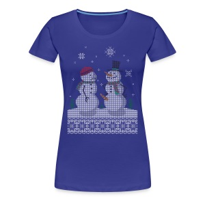UGLY HOLIDAY SWEATER HAPPY SNOWMAN CARROT THIEF Women's T-Shirts - Women's Premium T-Shirt