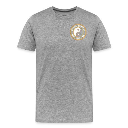 Enter Shaolin Men's T-Shirt Classic Cut Tee Heather Gray (Front & Back Logo in White) - Men's Premium T-Shirt