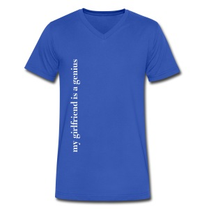 Men's tee: my girlfriend is a genius - Men's V-Neck T-Shirt by Canvas