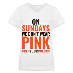 On Sundays We Don't Wear Pink - Cleveland - Women's V-Neck T-Shirt