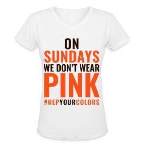 On Sundays We Don't Wear Pink - Cleveland - Women's V-Neck T-Shirt