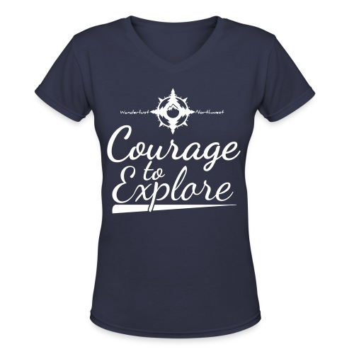 For Print – Courage To Explore Vintage - Women's V-Neck T-Shirt