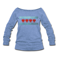Long Sleeve Shirts ~ Women's Wideneck Sweatshirt ~ Polish Chicago Flag