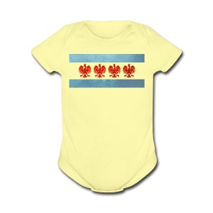 Polish Chicago Flag - Short Sleeve Baby Bodysuit