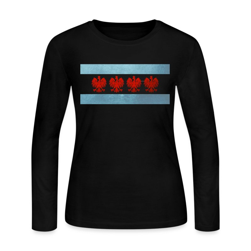 Polish Chicago Flag - Women's Long Sleeve Jersey T-Shirt