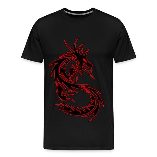 The legendary Red on Black Tribal Dragon T-shirt! - Men's Premium T-Shirt