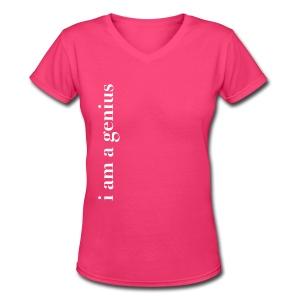 Women's tee: i am a genius - Women's V-Neck T-Shirt