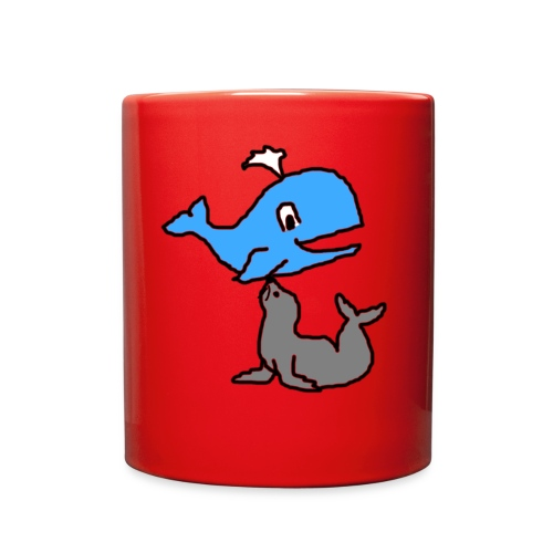 whale and seal mug red  - Full Color Mug