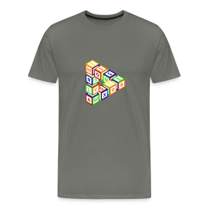 Impossible construction of a triangle of wooden toy blocks - Men's Premium T-Shirt