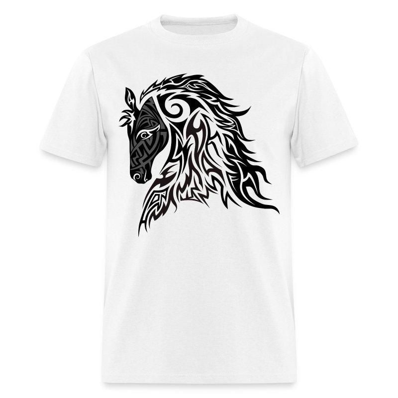 Tribal tattoo style horse t shirt spreadshirt for Tribal tattoo shirt