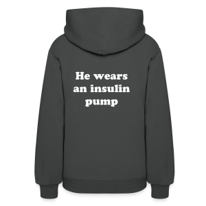 My hero doesn't wear a cape, He wears an insulin pump - Women's Hoodie
