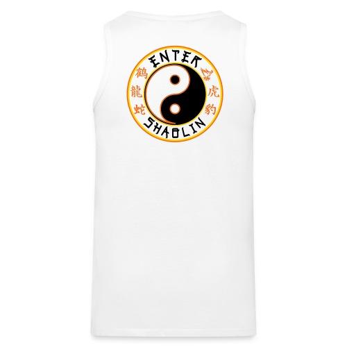 Enter Shaolin Men's Tank Top White (Don't Let Style Define You, Let Energy Refine You + Back Logo) - Men's Premium Tank