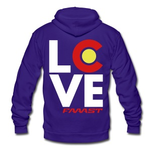 Zip-up LOVE - Unisex Fleece Zip Hoodie by American Apparel