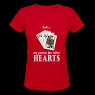 Women's T-Shirts ~ Women's V-Neck T-Shirt ~ Partner called hearts
