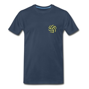 Men's Navy Heavy Weight with Yellow SMASH w/text and vball back - Men's Premium T-Shirt