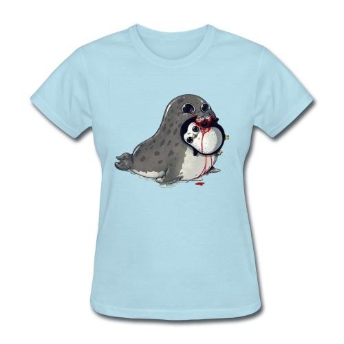 Seal Eating Penguin - Women's T-Shirt