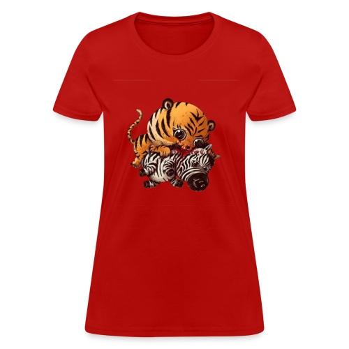 Tiger Eating Zebra - Women's T-Shirt