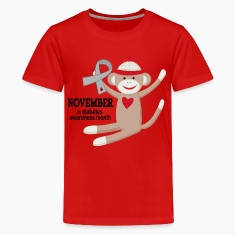 Diabetes Awareness Month Sock Monkey Kids' Shirts