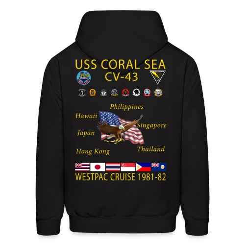 USS CORAL SEA 1981-82 CRUISE HOODIE - Men's Hoodie