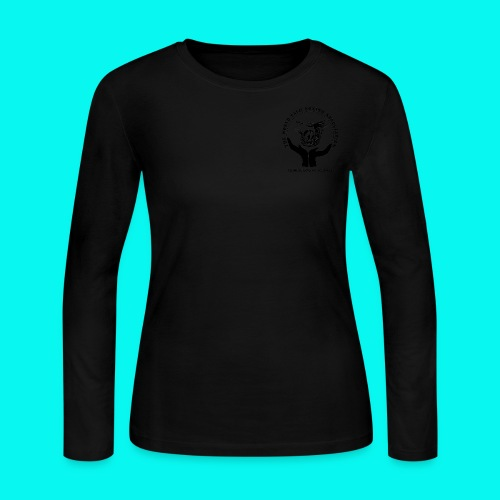 Women's Long Sleeve Jersey T-Shirt with black logos front and back (choice of colours) - Women's Long Sleeve Jersey T-Shirt