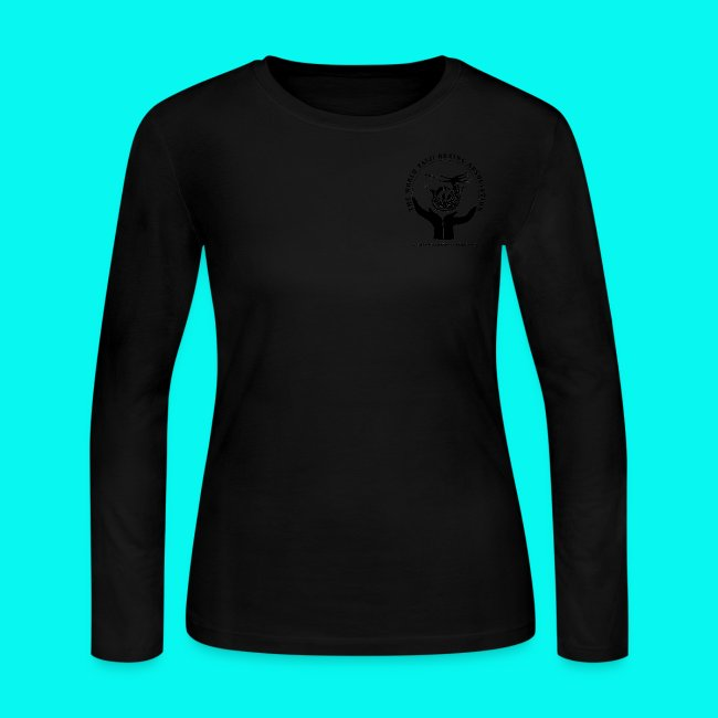 95a3cc23a88 Women s Long Sleeve Jersey T-Shirt with black logos front and back (choice  of