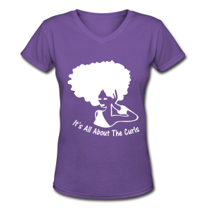 New It's All About The Curls V-Neck  White Decal - Women's V-Neck T-Shirt
