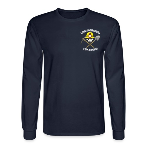 Underground Explorers Navy Blue Long Sleeve Logo Tee - Men's Long Sleeve T-Shirt