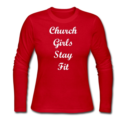 Church Girls Stay Fit- White Text  - Women's Long Sleeve Jersey T-Shirt
