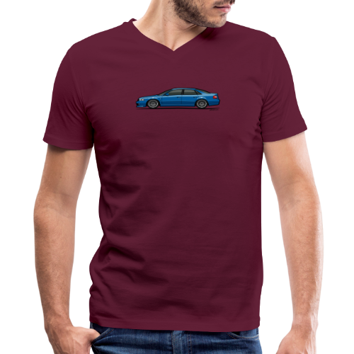 Audi A4 Quattro B5 Sedan (Nogaro Blue) - Men's V-Neck T-Shirt by Canvas