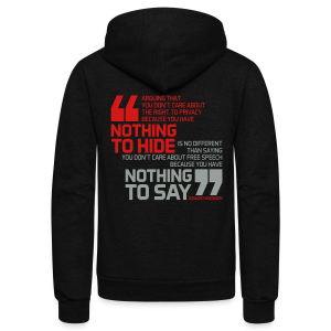 Nothing to hide - Nothing to say - Unisex Fleece Zip Hoodie by American Apparel