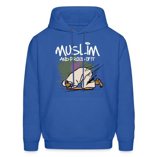 Muslim and Proud Hoodie- Blue  - Men's Hoodie