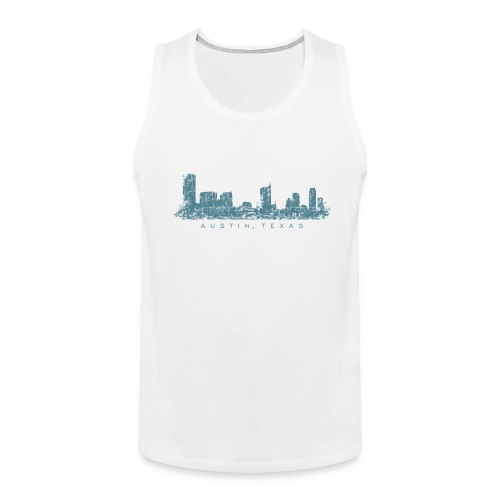 Austin, Texas City Skyline Vintage Blue