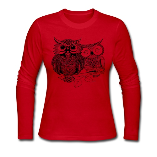 Tribal Owls Women's Long Sleeve Shirt from South Seas Tees - Women's Long Sleeve Jersey T-Shirt