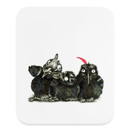 Three Young Ravens - Mouse pad Vertical