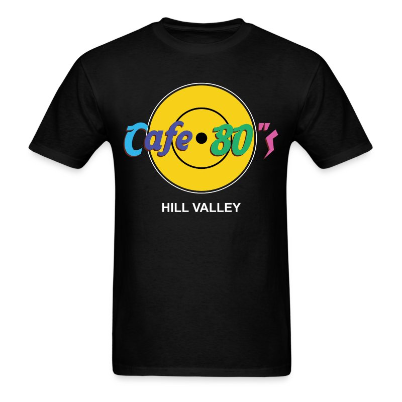 Cafe 80s - Back to the Future Hard Rock Cafe Parody T-Shirt Hill Valley - Men's T-Shirt