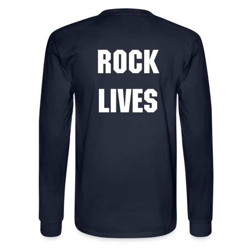 Men's Navy Blue SCR ROCK LIVES on Back Long SleeveTee - Men's Long Sleeve T-Shirt