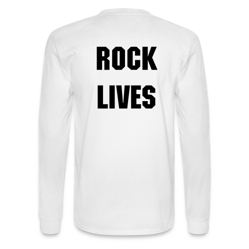 Men's White SCR ROCK LIVES on bacl Long Sleeve Tee  - Men's Long Sleeve T-Shirt