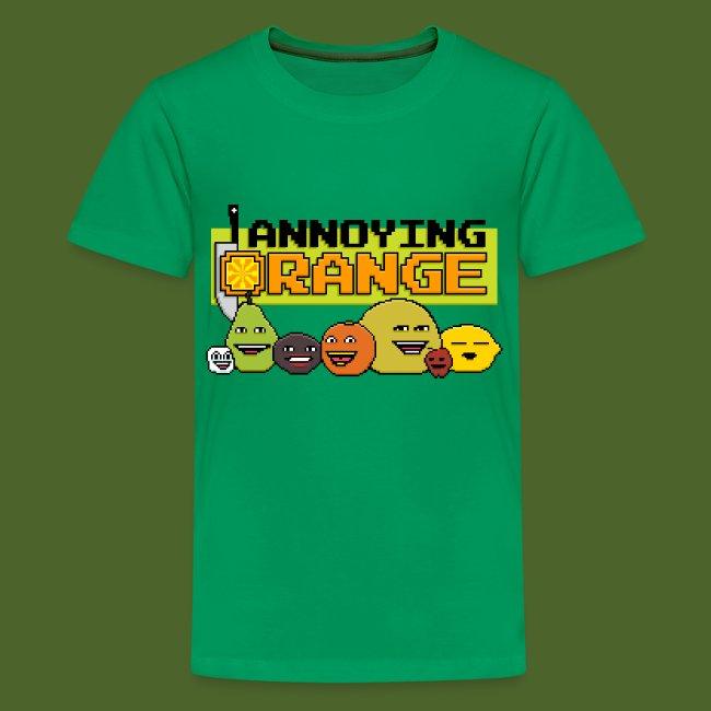 new annoying orange 8 bit annoying kids premium t shirt
