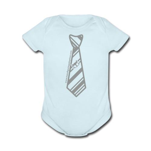 Blue/Silver   - Organic Short Sleeve Baby Bodysuit