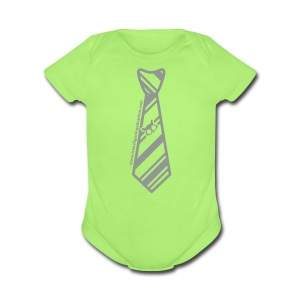 Green/Silver   - Short Sleeve Baby Bodysuit