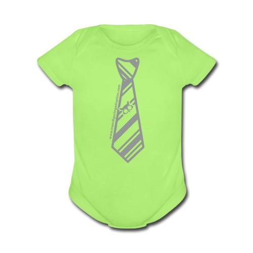 Green/Silver   - Organic Short Sleeve Baby Bodysuit
