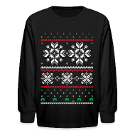 Kids' Shirts ~ Kids' Long Sleeve T-Shirt ~ Holiday Fair Isle - Black