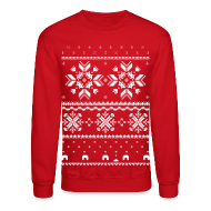 Long Sleeve Shirts ~ Crewneck Sweatshirt ~ Holiday Fair Isle - Red