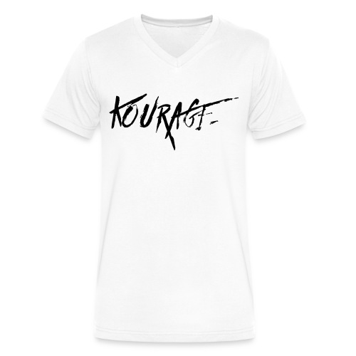 Men's Kourage V-Neck White - Men's V-Neck T-Shirt by Canvas