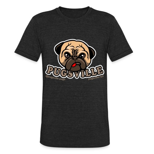 Pugsville Logo-T, Unisex Dark Gray - Unisex Tri-Blend T-Shirt